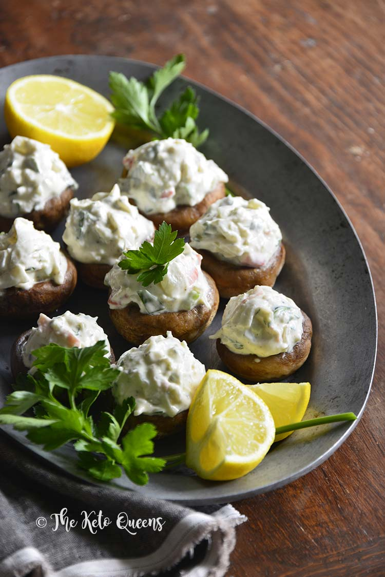 Chilled Old Bay Crab Salad #LowCarb Stuffed Mushrooms #keto #recipe