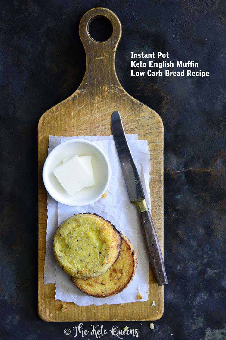 Instant Pot Keto English Muffin Low Carb Bread Recipe on Bread Board