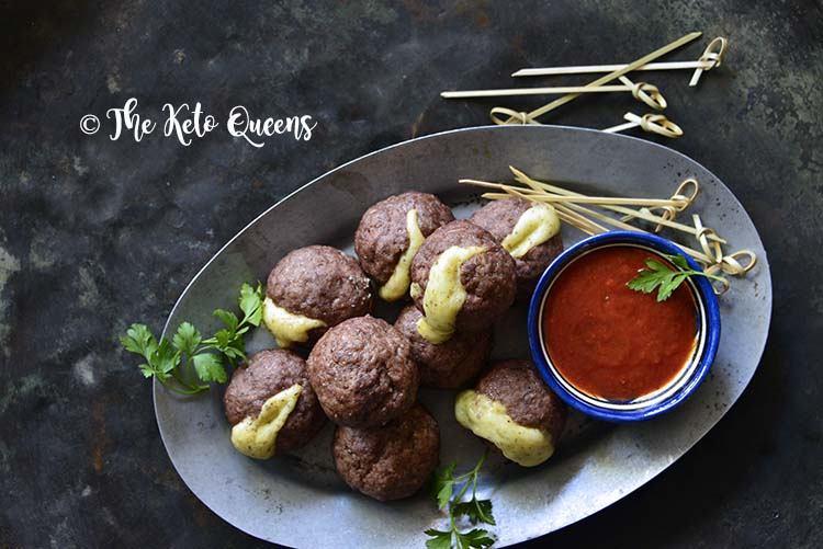 Keto Baked Italian Meatball Recipe (Cheese Stuffed) on Metal Platter