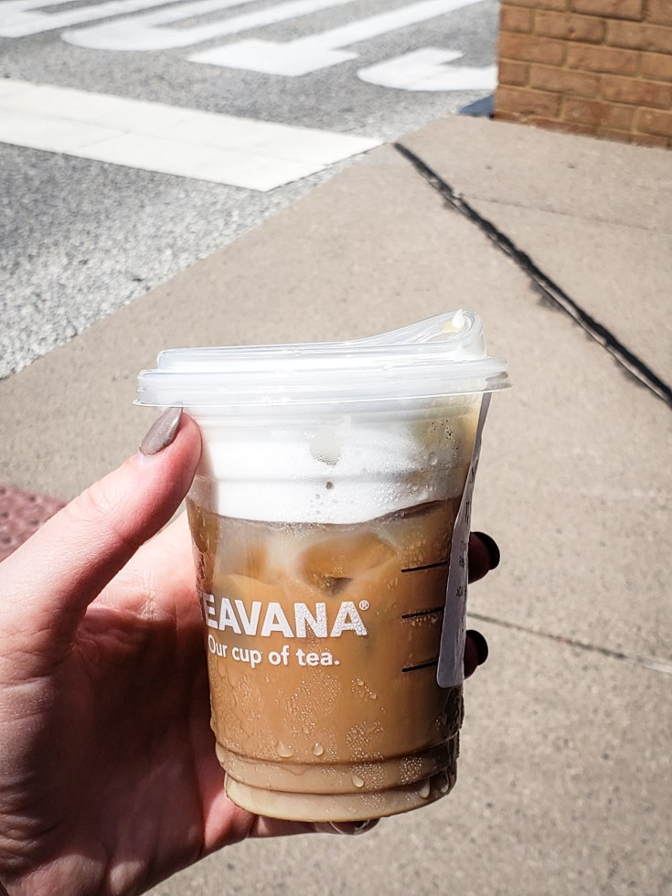 image of a person holding a Iced Starbucks Blonde Cold Foam Cappuccino