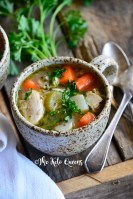 This Leftover Chicken Bone Broth Soup is every bit as hearty and comforting as a regular bowl of Chicken Noodle Soup! We guarantee you won't miss the noodles!