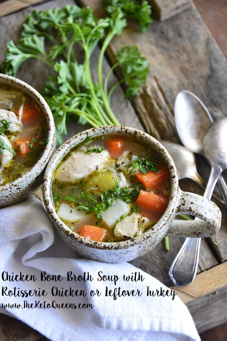 This Leftover Chicken Bone Broth Soup is every bit as hearty and comforting as a regular bowl of Chicken Noodle Soup! We guarantee you won't miss the noodles! #keto #ketorecipes #lowcarbrecipes #ketosoup #lowcarbsoup