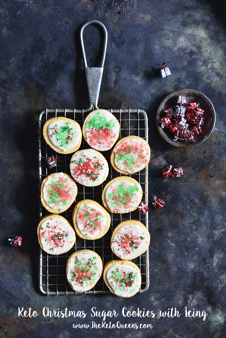 These #LowCarb #Keto Christmas Sugar Cookies with Icing have crisp texture and classic buttery sugar cookie flavor, without the carbs. #recipe #holiday #baking