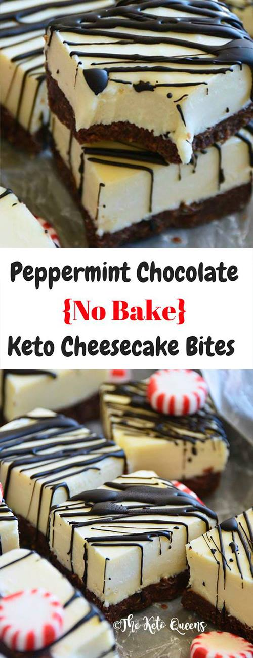 This Chocolate Peppermint {No Bake} #Keto #Cheesecake is cut into bite sized bars and drizzled with chocolate...need we say more. #ketorecipes #lowcarb #lowcarbrecipes #lowcarbcheesecake #nobake #nobakecheesecake