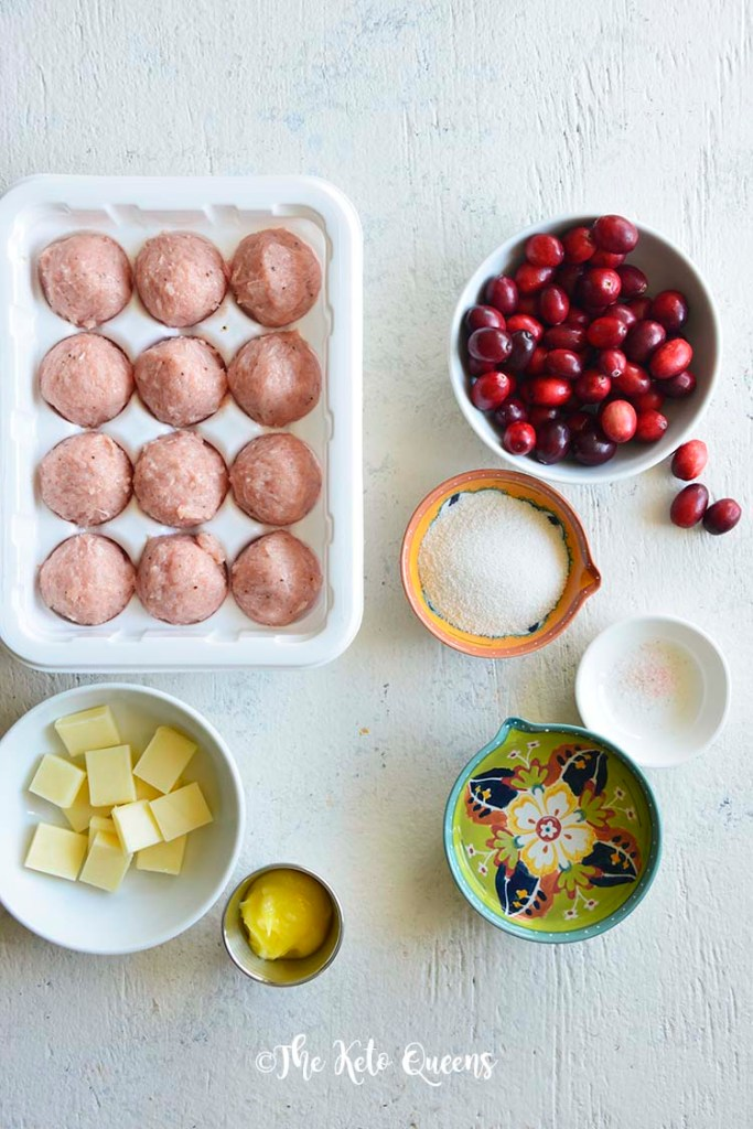 Turkey Sausage Meatballs with Sugar Free Cranberry Sauce ingredients