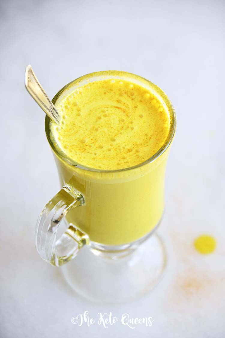 Bulletproof Golden Milk Turmeric Latte Recipe on Marble Board