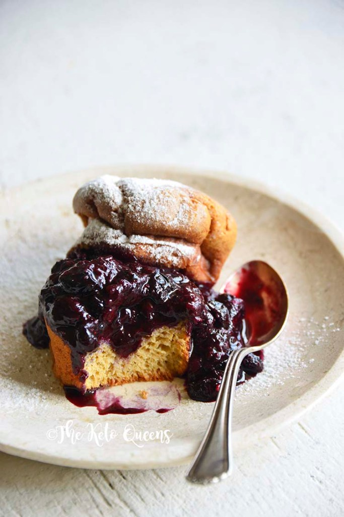 vertical image of Low Carb Brioche Bread filled with low carb blueberry sauce