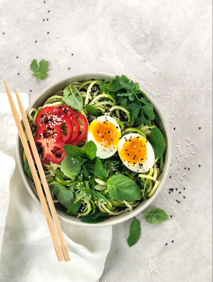 Zoodles make for the best low carb ramen noodles! Today we are sharing a video on how to make ramen noodles with a low carb twist. In this keto ramen recipe, the only thing that will be lacking is the carbs! You'll still get that delicious ramen taste including a perfectly soft boiled egg!