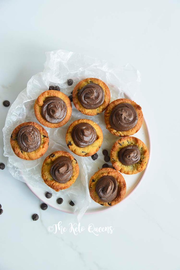 Chocolate Chip Cookie Cups with Chocolate Buttercream frosting