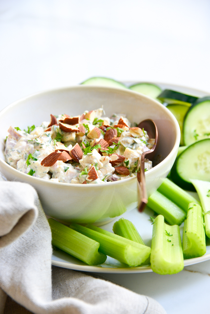 The Best Chicken Salad Recipe should not only be quick and easy, but packed full of flavor just like ours! This keto chicken salad can be made using rotisserie chicken, canned chicken, grilled chicken or freshly cooked shredded chicken.