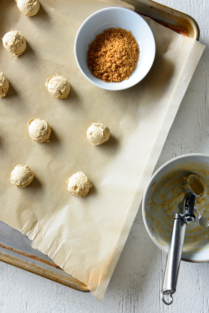 Keto PumpkinSpice Cream Cheese Fat Bomb in progress photo on a cookie sheet