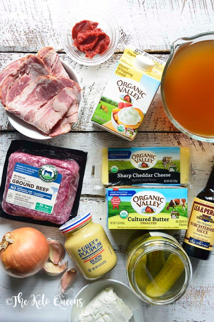 ingredients for Keto Bacon Cheeseburger Soup