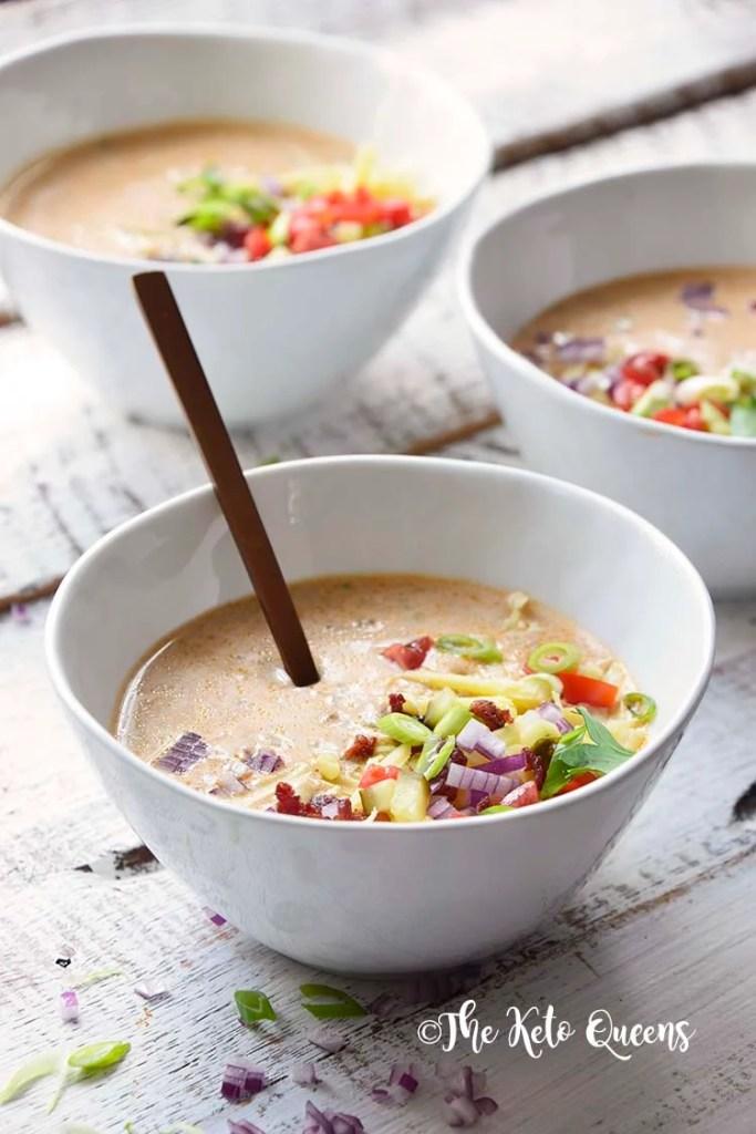 closeup image of 3 bowls of Keto Bacon Cheeseburger Soup