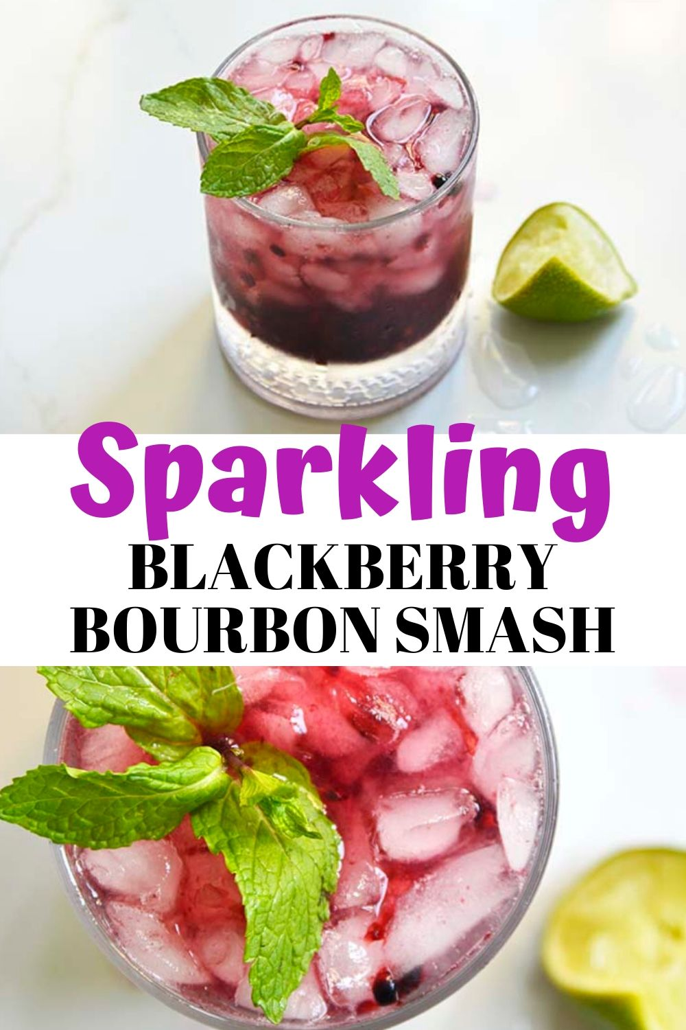 This Low Carb Sparkling Blackberry Bourbon Smash is a great spin on the classic cocktail! It contains deliciously sweet blackberries which have been muddled to release their sweet flavors, lime juice for a little citrusy vibe and fresh mint for a little flare! This drink is made in minutes and is a great way to relax after a long week at work! #lowcarbcocktail #ketococktail