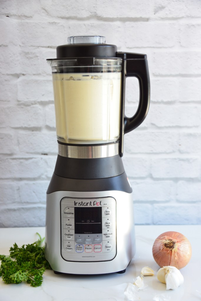 Instant Pot Ace Blender Cauliflower Soup with onion and parsley