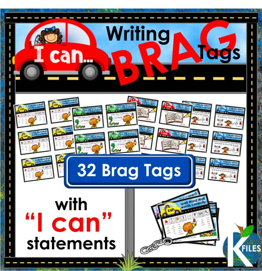 "Hold your students accountable for their learning with this set of 32 Writing Goal Posters with ""I can"" statements, matching brag tags and name tags to encourage your young authors to stay on the ""write track"". Display the writing goal posters throughout the year as a visual reminder of what good writer's do. Using Writing goals in your classroom is an effective way to differentiate your instruction during the Daily 5, Writers workshop and literacy centers."