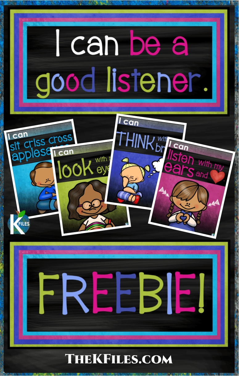 "FREEBIE! Use this ""I Can Be A Good Listener"" poster set to instill good listening habits in your students. Great for Back To School to encourage students to follow classroom rules and procedures. Included: I Can Be A Good Listener title I can sit criss cross applesauce. I can look with my eyes. I can think with my brain. I can listen with my ears and heart."