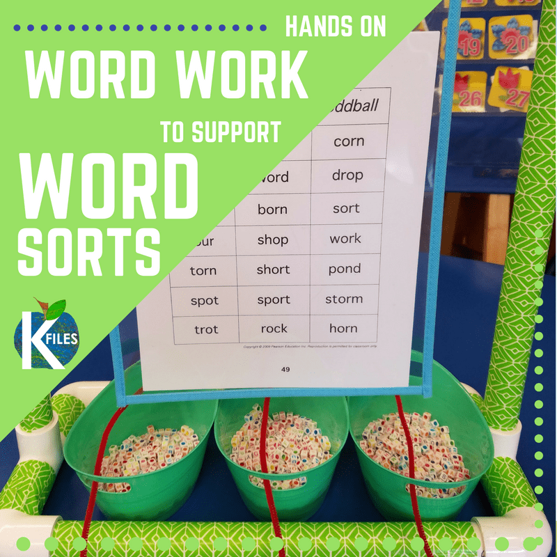 Hands on Word Work Activities to support Word Sorts for Words Their Way or any spelling and phonics program.