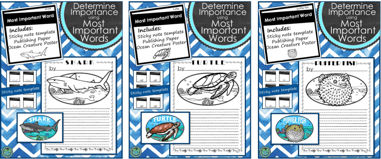 Ocean Unit for Nonfiction Reading and Nonfiction Writing Unit during Readers Workshop & Writers Workshop. Students use nonfiction text features to help with retelling nonfiction books. Using the Most Important Words (MIW's) strategy allows students to determine the importance of what is read. Students can write a nonfiction summary using main ideas and details when retelling or writing about their nonfiction topic. Perfect ocean unit first grade for main idea activities.