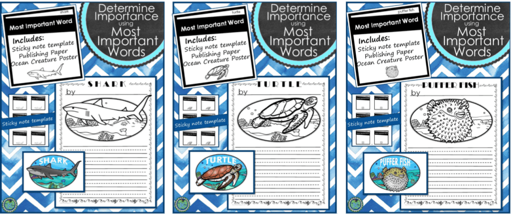 Ocean Life and Fish Unit: Nonfiction Reading and Writing Unit (Determine Importance). Reading & retelling nonfiction text can be difficult for young readers. Using the Most Important Words (MIW's) strategy allows students to determine the importance of what is read. Students can summarize main ideas and details when retelling or writing about their nonfiction topic. Reader's Workshop and Writer's Workshop.