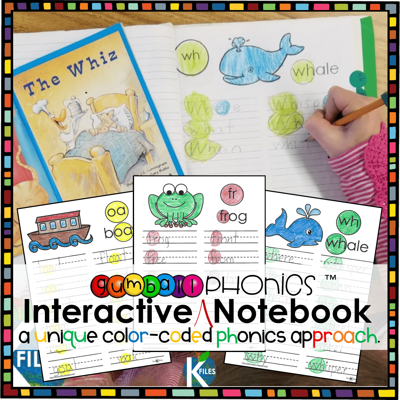 "The Phonics Interactive Notebook uses the ""Gumball Phonics"" approach: This unique color-coded phonics strategy will keep your young writers and readers engaged and alert for phonics and spelling patterns they are learning in your Word Study program during your literacy block."