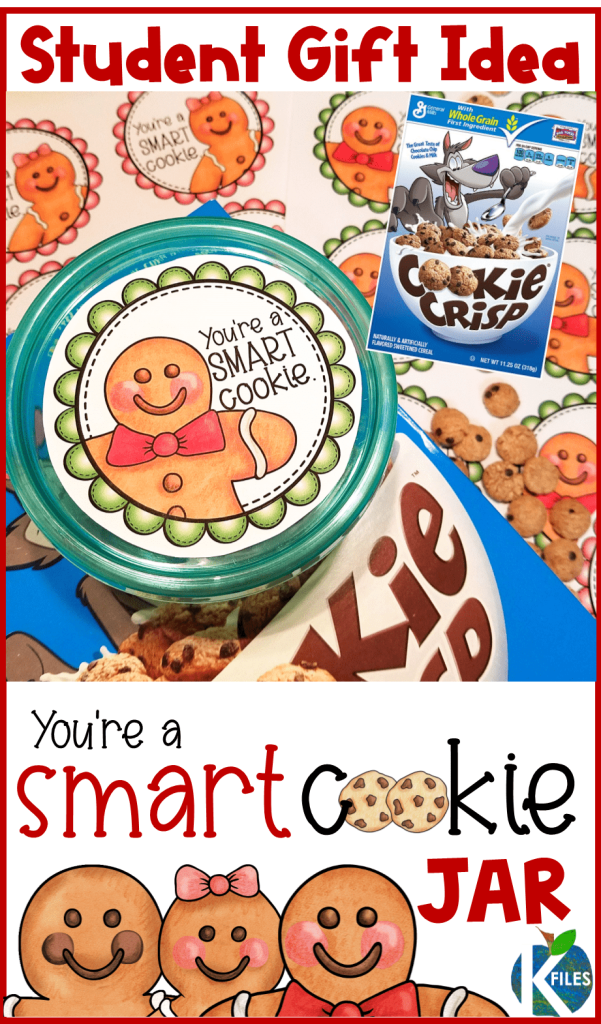 "This cookie jar label is the perfect gift for students this Christmas. You can fill Tupperware containers full of Cookie Crisp cereal and adhere this gift label to the lid of the ""cookie jar"". Or fill the container with gingerbread or cut out cookies. Don't forget to read The Gingerbread Man before you hand out these student gifts. Easy student gifts from teacher and holiday gift idea for students. #christmas #firstgrade #kindergarten"