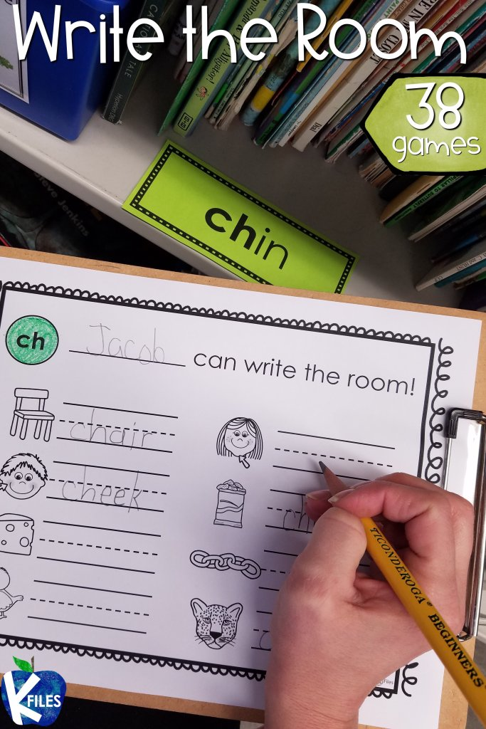 38 word study games! Students love to Write the Room. It is a great opportunity to get your students moving as they hunt for words that reinforce the current phonics rule they are studying. Perfect phonics games for your spelling & word study routines. After hiding the words around the room, provide your students with a clipboard and the recording sheet. You will see how engaged your students are in their learning as they match the pictures to the correct spelling pattern. #firstgrade #phonics