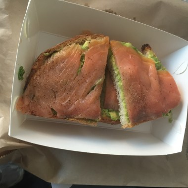 Smoked Salmon, Avocado and Black Pepper on Grilled Sourdough
