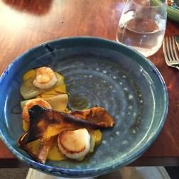 Pan fried sea scallops, pumpkin, apple, malt, brown butter