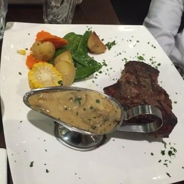 Steak With Mushroom Sauce, Baked Potatoes