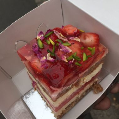 Strawberry Watermelon Cake with Rose Scented Cream