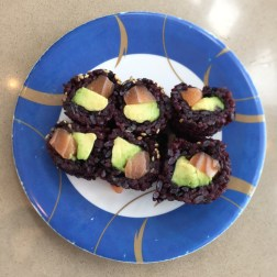 Salmon and Avocado Sushi with Black Rice