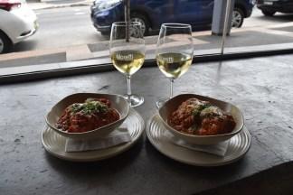 Wine, meatballs and parmigiana