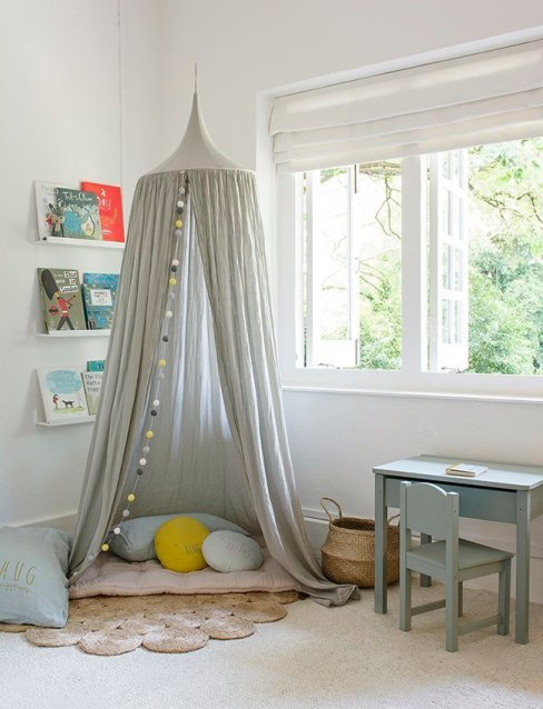 Gray canopy reading nook