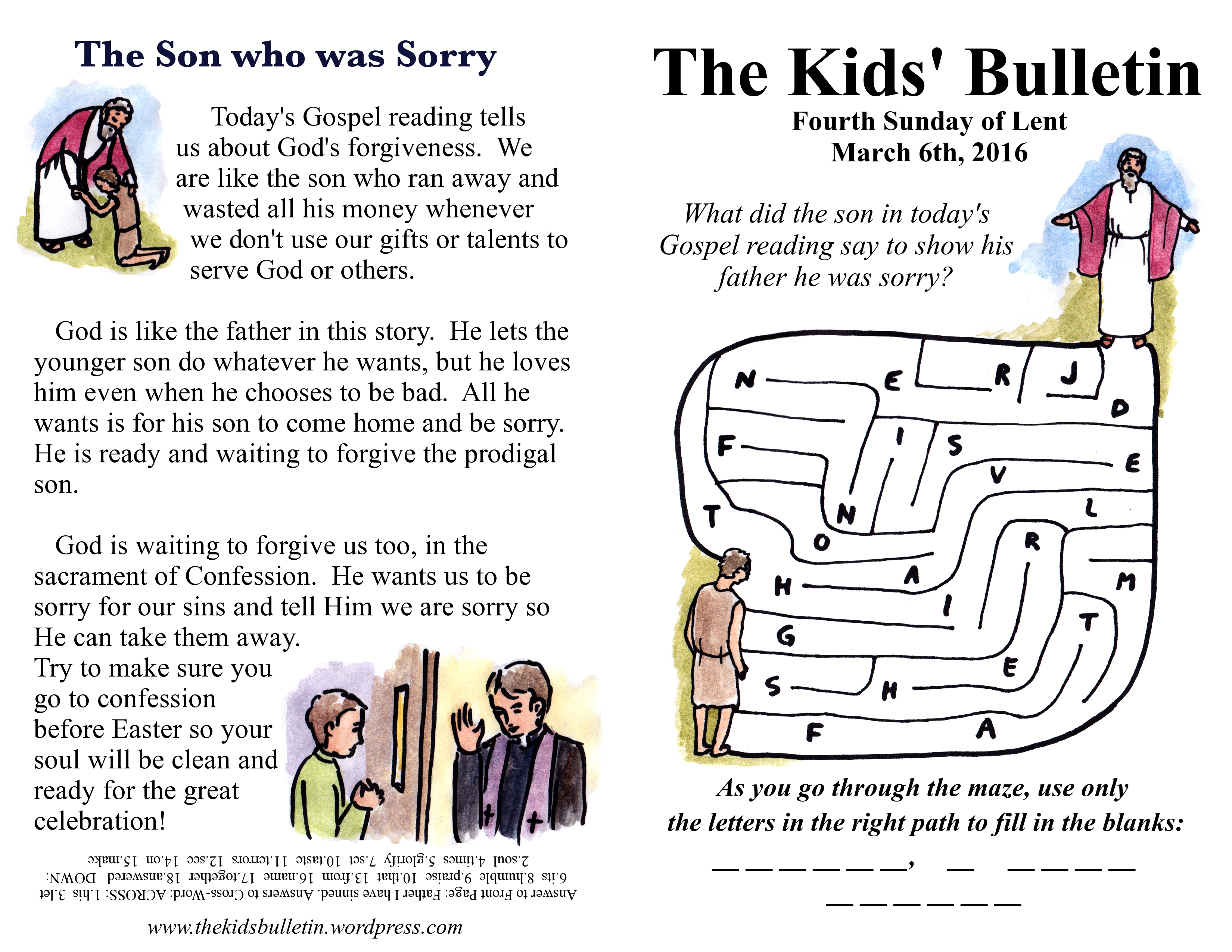 The Kids Bulletin For Sunday March 6th