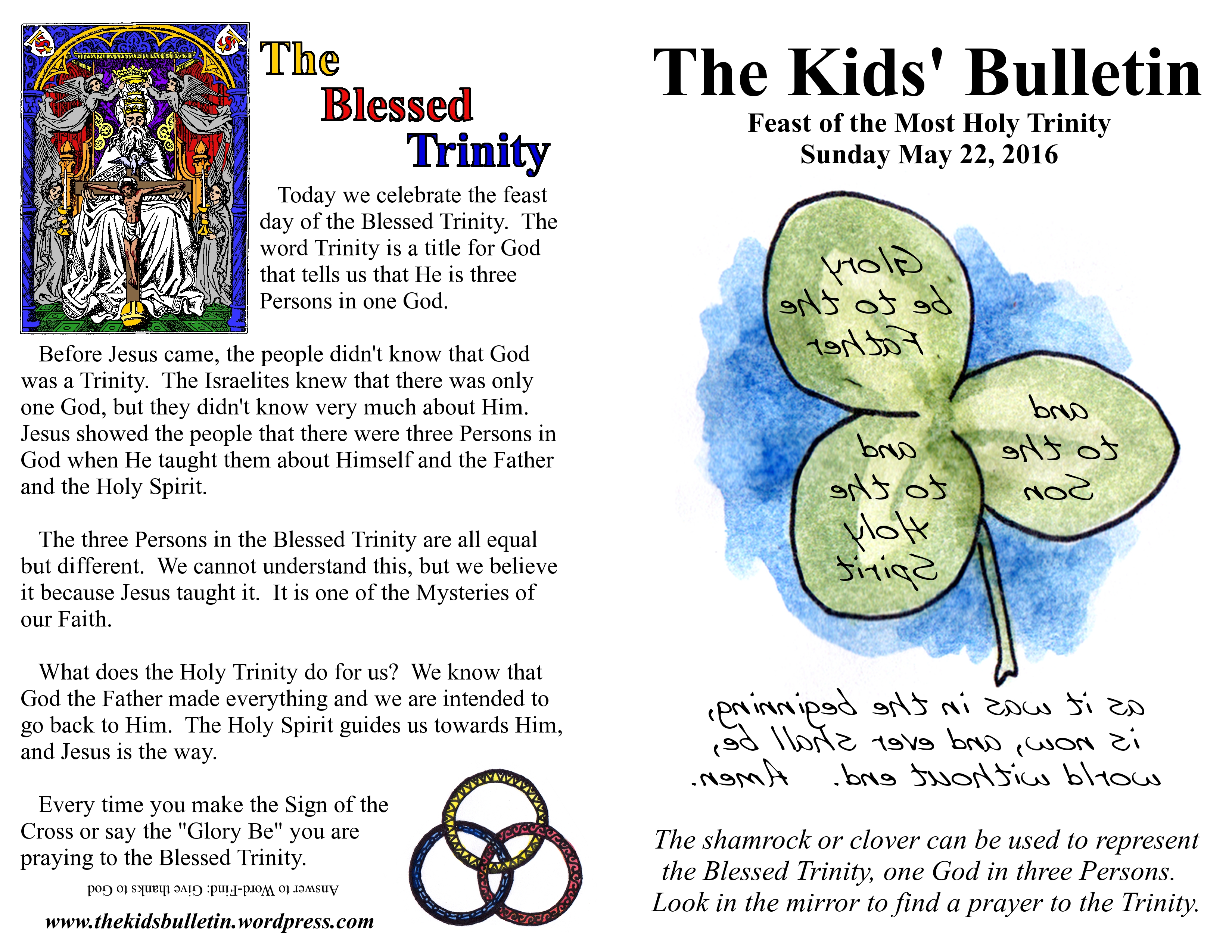 The Kids Bulletin For The Feast Of The Holy Trinity