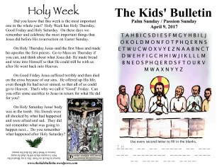 The Kids' Bulletin Passion Sunday