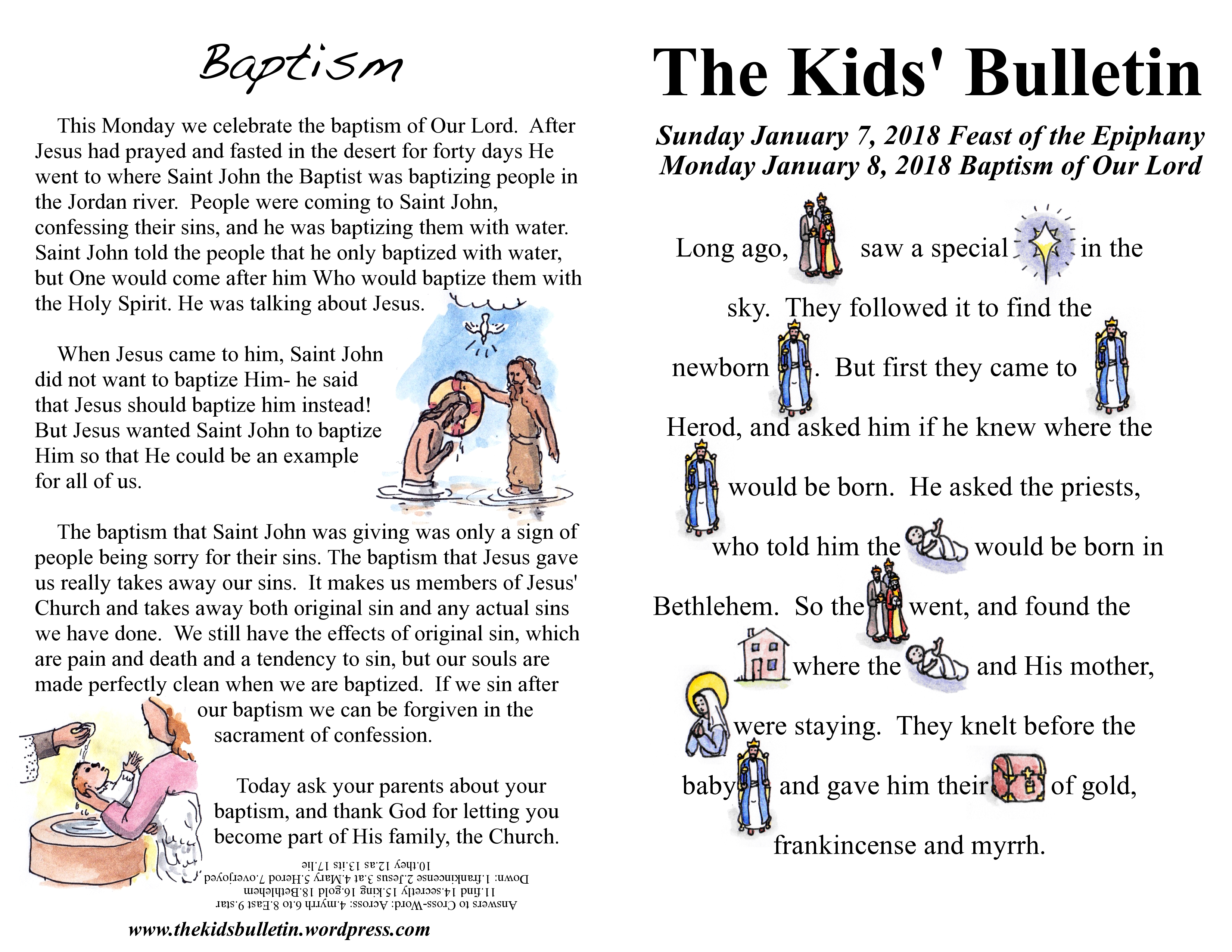 The Kids Bulletin Epiphany And Baptism