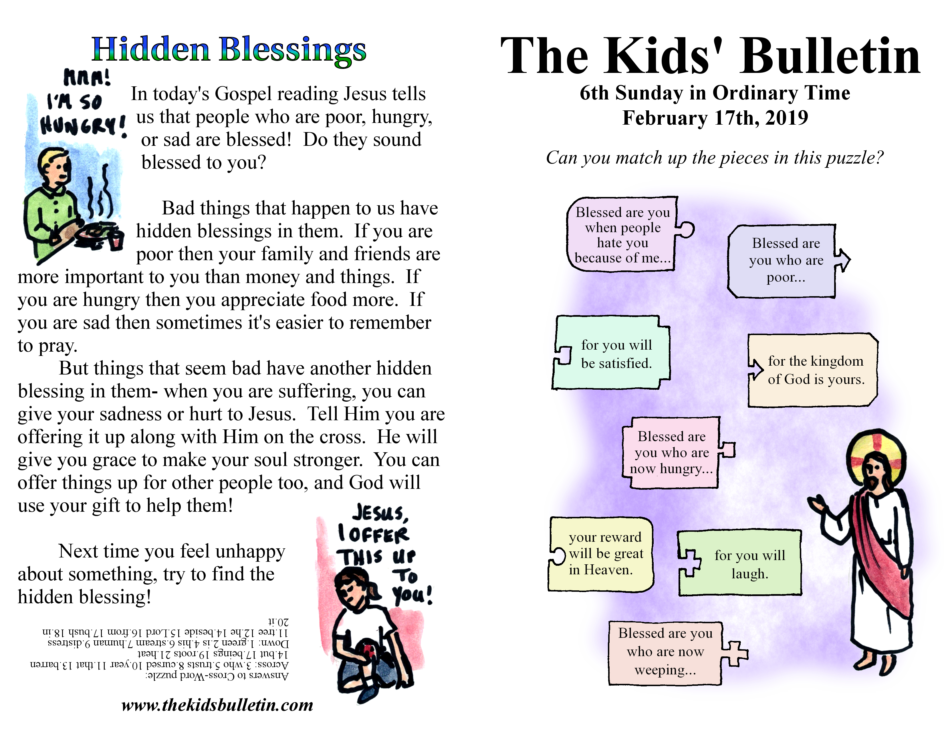 The Kids Bulletin For Sunday February 17th