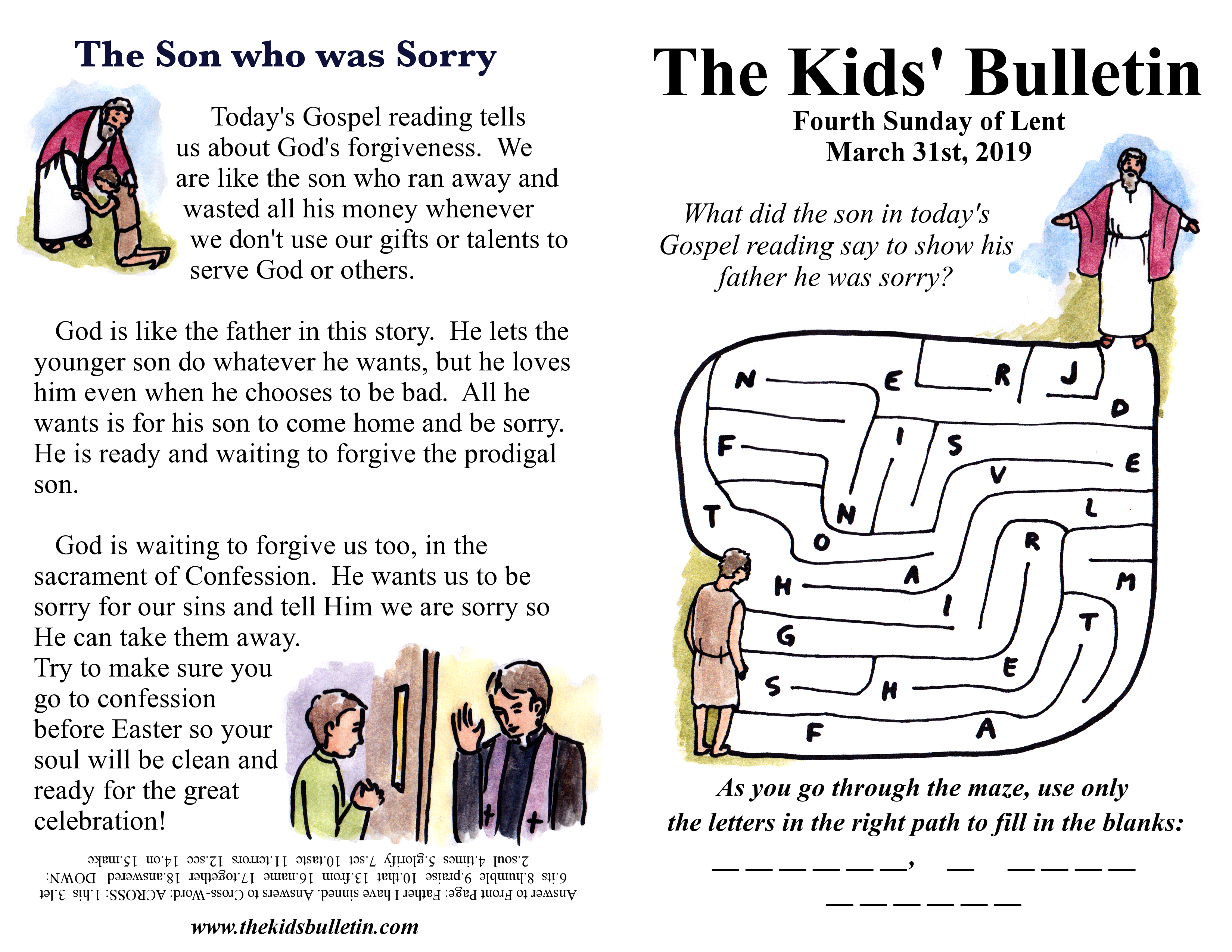 The Kids Bulletin For Sunday March 31st