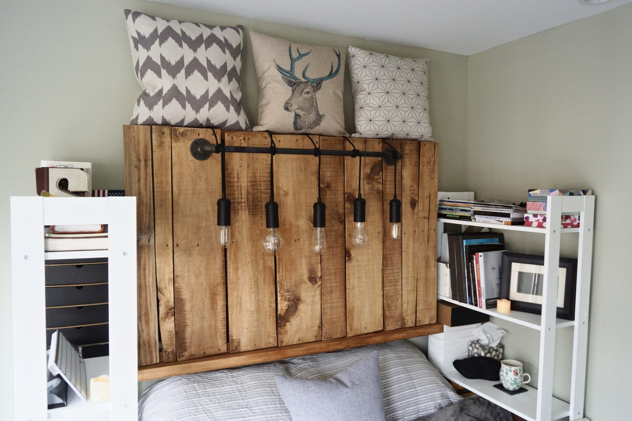 DIY Pallet Headboard - Edison Headboard - Edison Bulb - Reclaimed Wood - Do It Yourself Lighting - Bedroom - Design It Yourself - Galvanized Steel - Pendant Light - Woodworking - TheKillerLook.com - The Killer Look