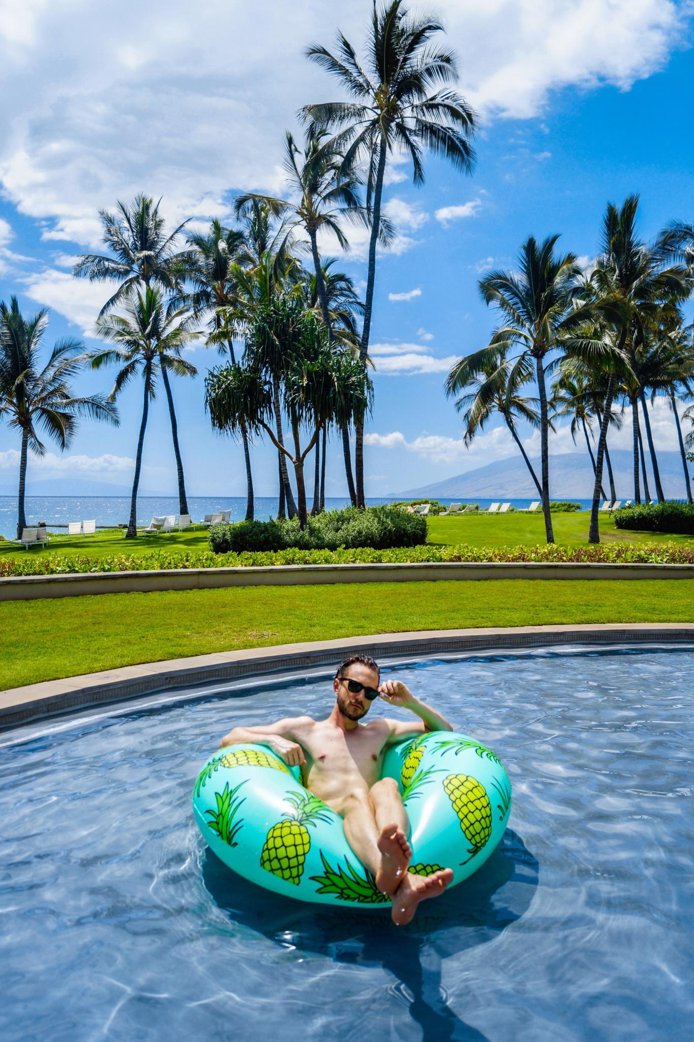 Pineapple Pool Float - Pineapple Pool Floatie - Mint - Hawaii Maui Wailea - Andaz Maui at Wailea Resort - Summer - Beach - Topman Blue Camouflage Swim Shorts - Killer Travel - Killer Look Travels - TheKillerLook.com - The Killer Look