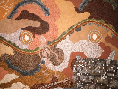"""Close-up of """"Spirit Dreaming through Napperby country"""" by Tim Leura & Clifford Possum Tjapaltjarri at NGV"""