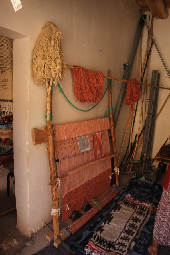 A typical loom from the High Atlas, at the Timdokkals Cooperative in Ait Bouguemez Valley.