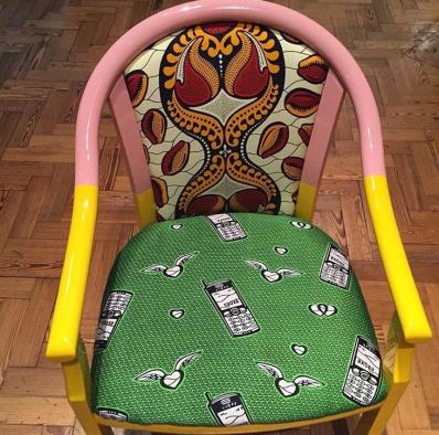 Instagram @coleycolour from 'Fashion Cities Africa' exhibition, chair by @yinka_ilori