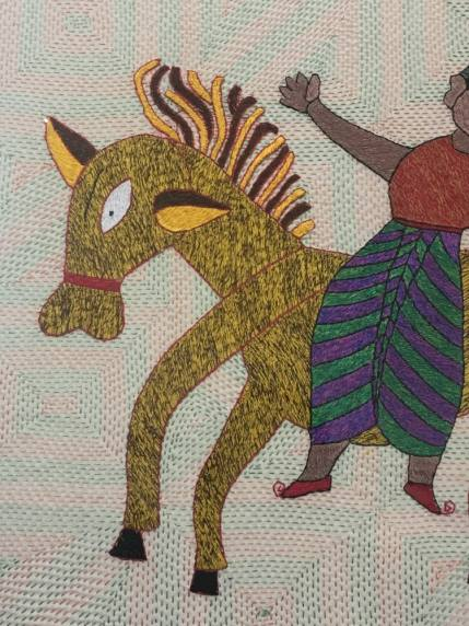 Aarong embroidery of horse and rider – Handmade Textiles of Bangladesh