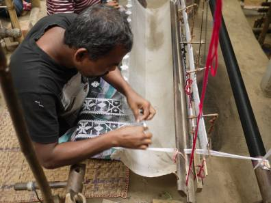 Detail of Jamdani weaving loom – Handmade Textiles of Bangladesh