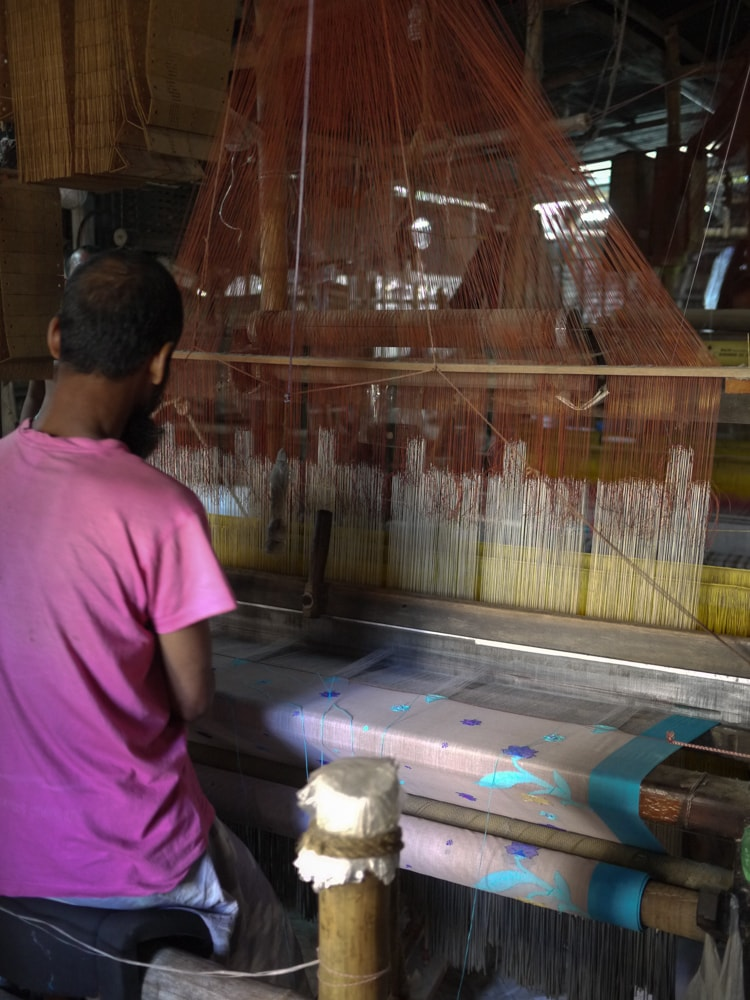 Loom detail inside Sirajganj Weaving factory – Handmade Textiles of Bangladesh
