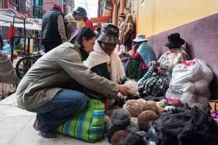 Quechua wool market in El Alto, (La Paz) Bolivia