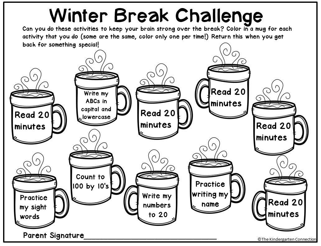 Free Winter Break Homework Editable Printable For Pre K